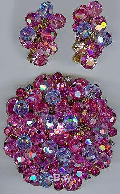 Juliana Vintage Wow Dazzling Pink Crystal Rhinestone Pin Brooch & Earrings Set