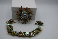 Juliana vintage jewelry bracelet, brooch, and earrings. Book Piece