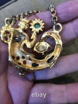KJL KENNETH J LANE 1960's Mermaid King Neptune Vintage Pin Brooch RARE