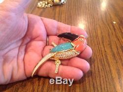 KJL Kenneth J Lane Amazing Toucan Bird Jeweled Vintage Pin Brooch Mint