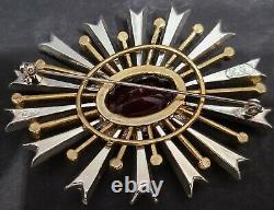 KJL Kenneth Jay Lane Signed Sun Burst Glass Red Rhinestone 3 Brooch Pin Vintage