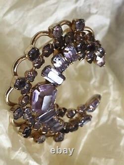 KRAMER of New York Crescent Lavender Purple Rhinestone Vintage Brooch Pin