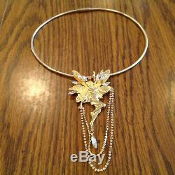 Kirks Folly Vtg Retired Lge Fairy Jeweled Pin Brooch Pendant Omega Necklace