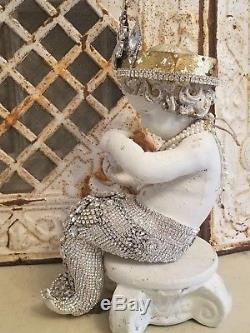 LG Vtg RHINESTONE mErMaiD statue figure rUSTY CrOwN lot jewelry brooch earring