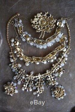 LOT OF 4 Vintage Juliana Rhinestone Crystal Pearl Necklace Bracelet Brooch Set