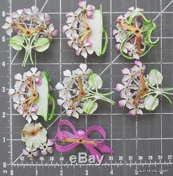 LOT of 8 VINTAGE Flower pin & Rhinestone RIBBON brooch Lavender PURPLE violets