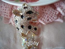 Large Art Deco Vintage Leopard Panther Crystal Rhinestone Gold Silver Brooch