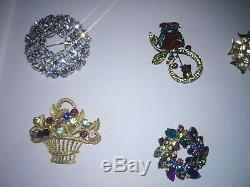 Large BROOCH LOT VINTAGE+NEWER+ SIGNED+RHINESTONERARE GORGEOUS PIECES