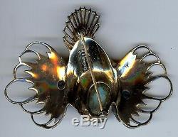 Large Coro Sterling Vintage Rhinestone Enamel Rockfish Fish Pin Brooch