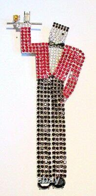 Large Vintage Animated Bellhop Rhinestone Brooch By Butler And Wilson