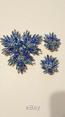Large Vintage Brooch And Earrings Set Signed Sherman Blue Rhinestones