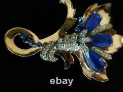 Large Vintage STERLING REINAD (unsigned) 1940s Retro Flower Brooch
