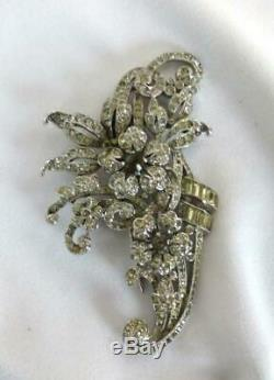 Lg. Vintage Crown TRIFARI Alfred Philippe Floral Rhinestone Fur Clip Brooch