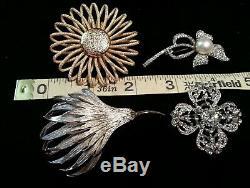 Lot Vtg Costume Jewelry 40 Rhinestone Enamel Flower Brooch, Sarah Cov, Coro, BSK+