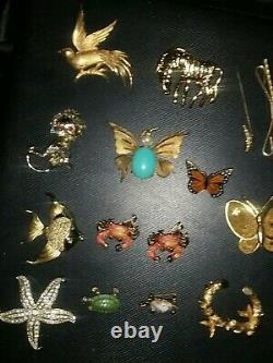 Lot of Vintage Designer Brooches Trifari Roma Monet Rhinestone Animal