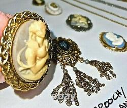 Lovely Vintage All Cameos Jewelry Lot-necklaces-brooches-bracelet-earrings-ring+