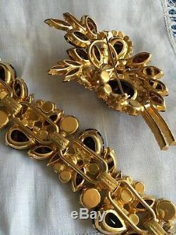 Luxurious VTG JULIANA Rhinestone Brooch & Bracelet Set TIGER GLASS & AB