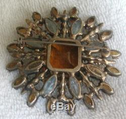 MAGNIFICENT Vintage Adele Simpson Sterling Silver Pave Rhinestone Brooch Pin