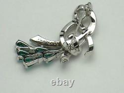 MARCEL BOUCHER Emerald & Diamante Floral Rhinestone Brooch Pin Vintage 1950s