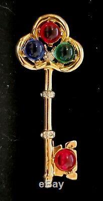 MINT CORO CRAFT PEGASUS Sterling ROSE-GOLD-Plate Vtg KEY BROOCH Cabs/Rhinestones