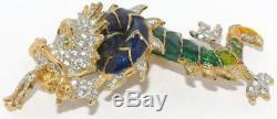 MINT! Vtg Butler & Wilson 3D Rhinestone Blue Green Enamel 3.44 Dragon Brooch