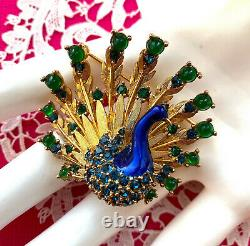 MINTY Excellent Signed ©BOUCHER Rhinestone PEACOCK Vintage Brooch Pin Numbered