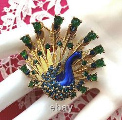 MINTY Signed ©BOUCHER Rhinestone PEACOCK Brooch Pin Numbered Green Blue Vintage