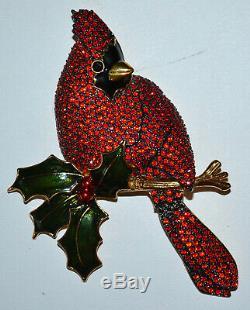 MINTY Vintage JOAN RIVERS Flights of Fantasy Cardinal Bird Pin Brooch, RETIRED
