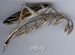 Marcel Boucher Large Vintage Rhinestone Grasshopper Locust Brooch Pin