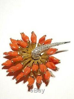 Marcel Boucher Rare Vintage Orange Gripox & Rhinestone Pin/brooch 3 -Stunning