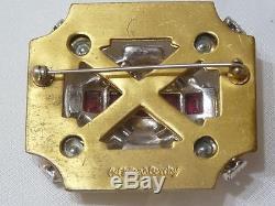 McClelland Barclay Vintage Art Deco Brooch Gold Tone Rhinestones and Ruby Red
