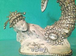 Mermaid Vtg STATUE Figurine Rhinestone Jewelry Brooch Necklace