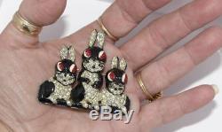 Mint Vtg Adolph Katz Pot Metal Rhinestone Enamel Bunny Rabbit Brooch