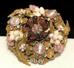 Miriam Haskell Brooch Rare Vintage 2-1/4 Signed Gilt Purple Glass Flower Pin