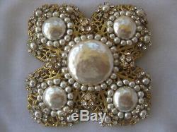 Miriam Haskell Huge Pearls & Rhinestones Vintage Pin Brooch