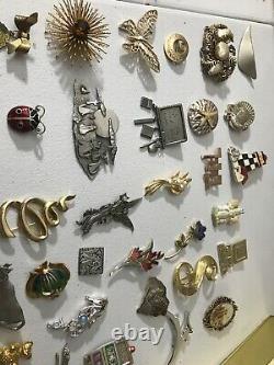 Moms Estate Huge Lot of 285 Vintage-Modern Pins Brooches 60 + Signed