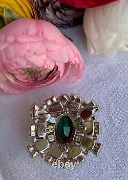 Original vintage 1965 CHRISTIAN DIOR Brooch Green Emerald/White Glass Rhinestone