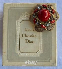 Original vintage Filigree CHRISTIAN DIOR red Cabochon, Rhinestones Brooch, 1964