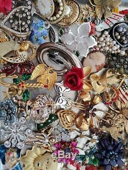 Over 100 Vintage Rhinestone Brooches Jewelry LotCoro925RomaItalyRegencyPD