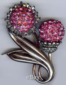 Pennino Vintage Dimensional Sterling Silver Rhinestone Peony Flower Pin Brooch