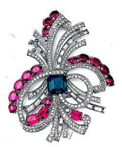 Pennino Vintage Faux Diamond Ruby Rhodium Brooch 4 x 3