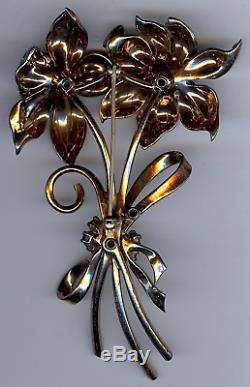 Pennino Vintage Sterling Silver & Rhinestone Dimensional Peony Flower Pin Brooch