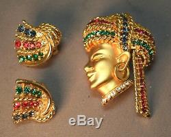 RARE Figural Vintage Boucher Jeweled Diety Sultan Brooch & Earring Set