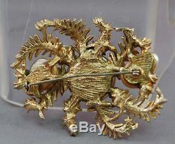 RARE HAR Signed Dragon's Tooth SUPERB Brooch withAurora Borealis Rhinestones