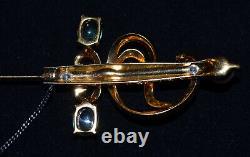 RARE JOMAZ 1940's Vintage Brooch Sword Glass Cabochon Amethyst Rhinestone