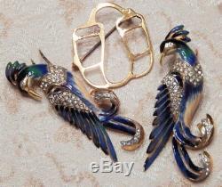 RARE Signed Vintage Sterling COROCRAFT Enamel Rhinestone Bird Duette Pin Brooch