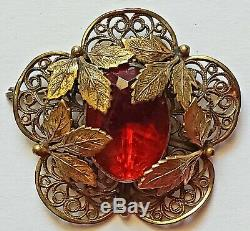 RARE! VINTAGE JOSEFF OF HOLLYWOOD RED CAB WithLEAVES OPEN WORK FILIGREE BROOCH PIN