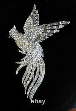 RARE! VNTG Trifari Alfred Philippe Rhinestone Encrusted Bird of Paradise Brooch