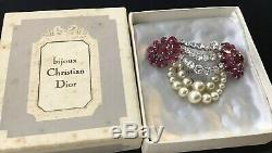 RARE VTG 1959 Christian Dior Brooch Rhinestone Pearl Mint Condition Original Box