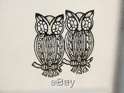 RARE Vintage 1951 Adolph Katz Coro CoroCraft Owls DUETTE Brooch Fur Clip Book Pc